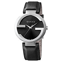 Buy Gucci YA133205 Men's Interlocking G Leather Strap Watch, Black Online at johnlewis.com