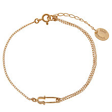 Buy Alex Monroe 22ct Gold Vermeil Safety Pin Bracelet, Gold Online at johnlewis.com