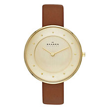 Buy Skagen Gitte Women's Two-Hand Leather Watch Online at johnlewis.com