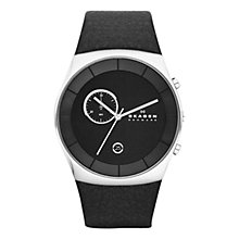 Buy Skagen SKW6070 Men's Klassik Round Dial Leather Strap Watch, Black Online at johnlewis.com
