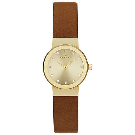 Buy Skagen SKW2175 Women's Klassik Crystal Dial Leather Strap Watch, Brown Online at johnlewis.com
