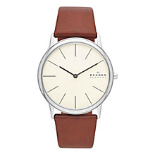 Buy Skagen SKW6083 Men's Klassik Cream Dial Leather Strap Watch, Brown Online at johnlewis.com