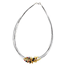 Buy Goldmajor Sterling Silver Amber, Agate Coral and Steel Cluster Wire Strand Collar Online at johnlewis.com