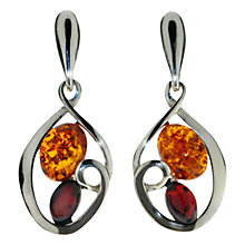 Buy Goldmajor Amber And Silver Drop Down Earrings, Silver Online at johnlewis.com