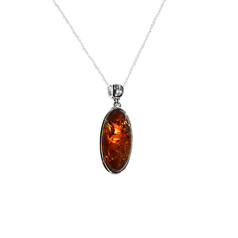 Buy Goldmajor Amber And Sterling Silver Oval Pendant, Silver/Orange Online at johnlewis.com