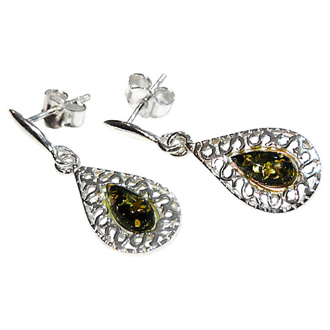 Buy Goldmajor Green Amber and Sterling Silver Drop Earrings Online at johnlewis.com