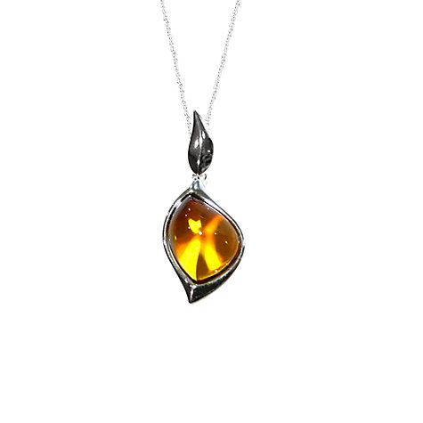 Buy Goldmajor Amber And Sterling Silver Sunset Pendant, Silver/Orange Online at johnlewis.com