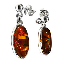 Buy Goldmajor Amber And Sterling Silver Drop Earrings, Silver Online at johnlewis.com