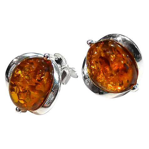 Buy Goldmajor Amber And Sterling Silver Oval Shaped Stud Earrings, Orange Online at johnlewis.com