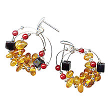 Buy Goldmajor Amber Sterling Silver And Coral Stud Earrings, Silver/Orange Online at johnlewis.com