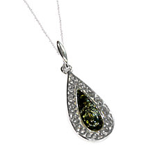 Buy Goldmajor Green Amber And Sterling Silver Teardrop Pendant, Silver/Green Online at johnlewis.com