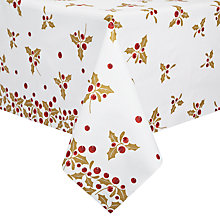 Buy John Lewis Holly Christmas Table Cover, Gold Online at johnlewis.com