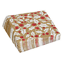 Buy John Lewis Holly Christmas Napkins, Gold, Pack of 20 Online at johnlewis.com