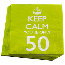 Buy Neviti Keep Calm You're Only 50 Party Napkins, Set of 20 Online at johnlewis.com