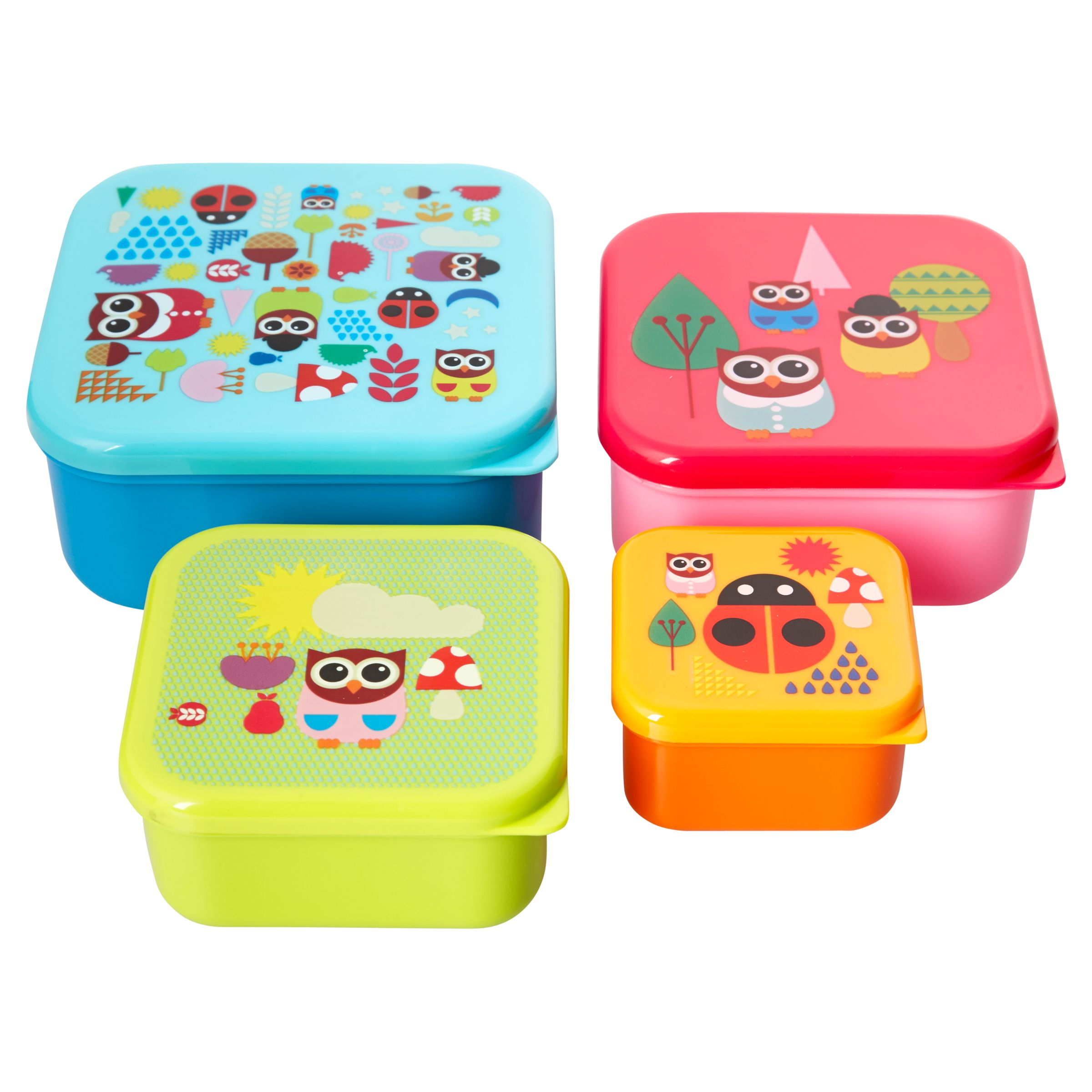 Give A Hoot Snack Boxes, Set of 4