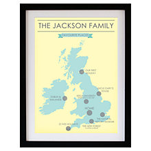 Buy Betsy Benn Favourite Place Map Framed Print, Yellow/ Duck Egg, 48.7 x 37.7cm Online at johnlewis.com