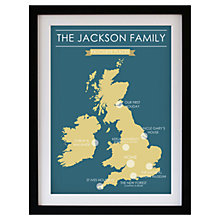 Buy Betsy Benn Favourite Place Map Framed Print, Turquoise/ Yellow, 48.7 x 37.7cm Online at johnlewis.com