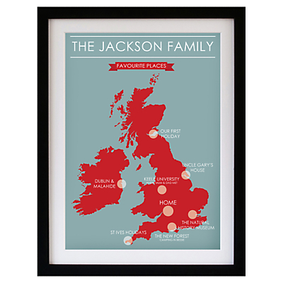 Betsy Benn Favourite Place Map Framed Print, Black Frame, 48.7 x 37.7cm