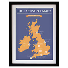 Buy Betsy Benn Favourite Place Map Framed Print, Blue/ Orange, 48.7 x 37.7cm Online at johnlewis.com