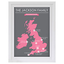 Buy Betsy Benn Favourite Place Map Framed Print, Green/ Pink, 48.7 x 37.7cm Online at johnlewis.com