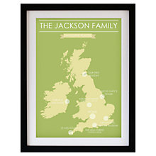 Buy Betsy Benn Favourite Place Map Framed Print, Green/ Yellow, 48.7 x 37.7cm Online at johnlewis.com