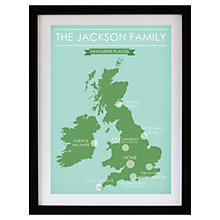 Buy Betsy Benn Favourite Place Map Framed Print, Mint/ Green, 48.7 x 37.7cm Online at johnlewis.com