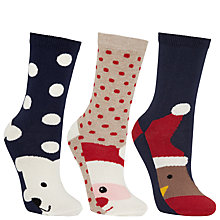 Buy John Lewis Christmas Feet Ankle Socks, Pack of 3, Navy Online at johnlewis.com