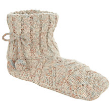 Buy John Lewis Cable Bootie Slipper Socks, Nude Online at johnlewis.com
