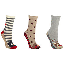 Buy John Lewis Christmas Toe Animal Socks, Pack of 3, Grey Online at johnlewis.com