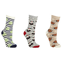 Buy John Lewis Christmas Food Ankle Socks, Pack of 3, Grey Online at johnlewis.com