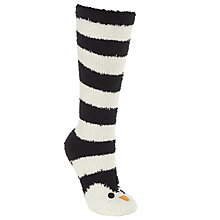 Buy John Lewis Christmas Penguin Fluffy Knee High Socks, Black/White Online at johnlewis.com