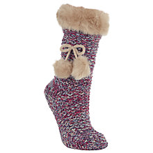Buy John Lewis Fur Cable Knitted Knee High Socks, Purple Online at johnlewis.com