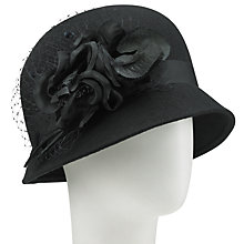 Buy Walter Wright Felt Cloche Hat With Flower Detail, Black Online at johnlewis.com