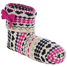 Buy John Lewis Fairisle Bootie Slipper Socks, Navy Online at johnlewis.com