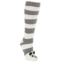 Buy John Lewis Panda Fluffy Knee High Socks, Grey Online at johnlewis.com