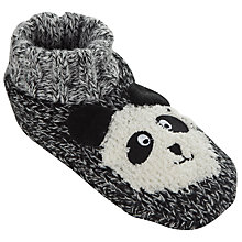 Buy John Lewis Panda Bootie Socks, One Size, Black Online at johnlewis.com
