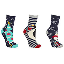 Buy John Lewis Christmas Love Ankle Socks, Pack of 3, Navy Online at johnlewis.com
