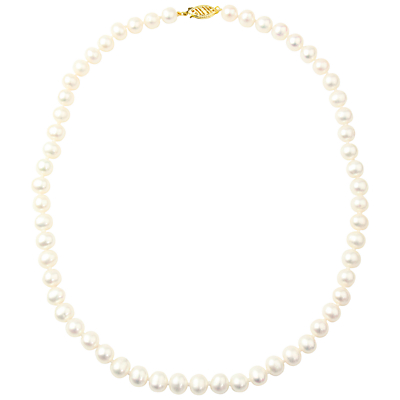 A B Davis 9ct Freshwater Pearl Necklace, White