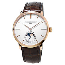 Buy Frédérique Constant FC-705V4S4 Men's Slim Line Manufacture Moonphase Automatic Watch, White Online at johnlewis.com