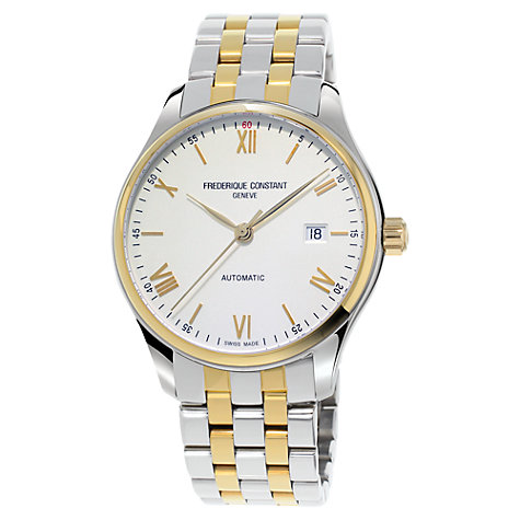 Buy Frédérique Constant FC-303WN5B3B Men's Two Tone Bracelet Strap Watch, Silver/Gold Online at johnlewis.com
