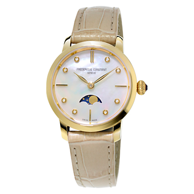 Frédérique Constant FC-206MPWD1S5 Women's Slim Line Moonphase Watch, Cream/Mother of Pearl