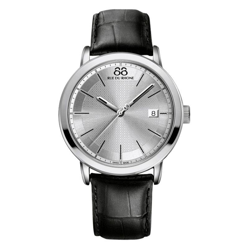 88 Rue Du Rhone 88 Rue Du Rhone 87WA130015 Men's Double 8 Origin Leather Strap Watch, Black/Silver