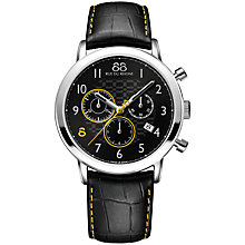Buy 88 Rue Du Rhone 87WA140028 Men's Double 8 Origin Chronograph Leather Strap Watch, Black Online at johnlewis.com