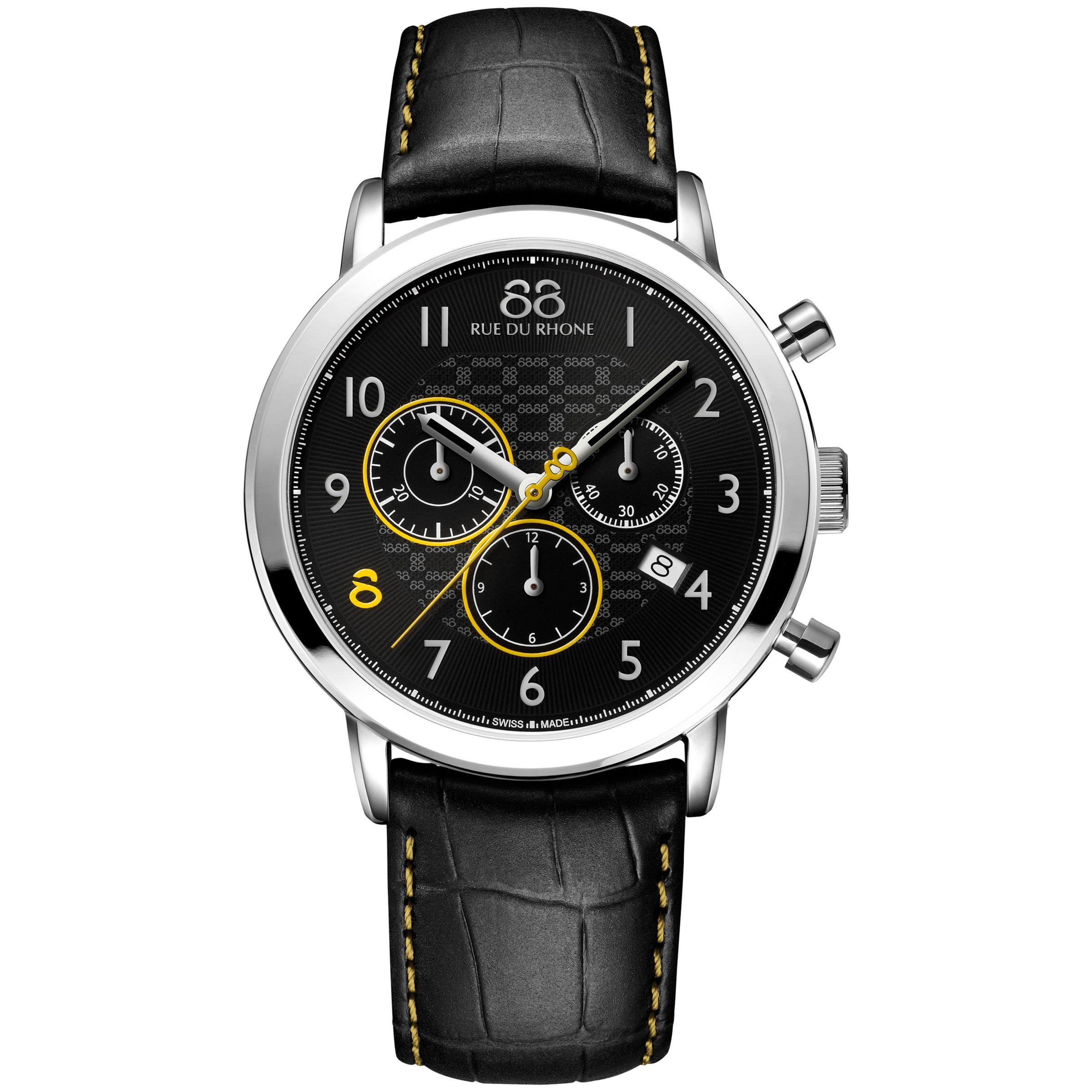 88 Rue Du Rhone 88 Rue Du Rhone 87WA140028 Men's Double 8 Origin Chronograph Leather Strap Watch, Black