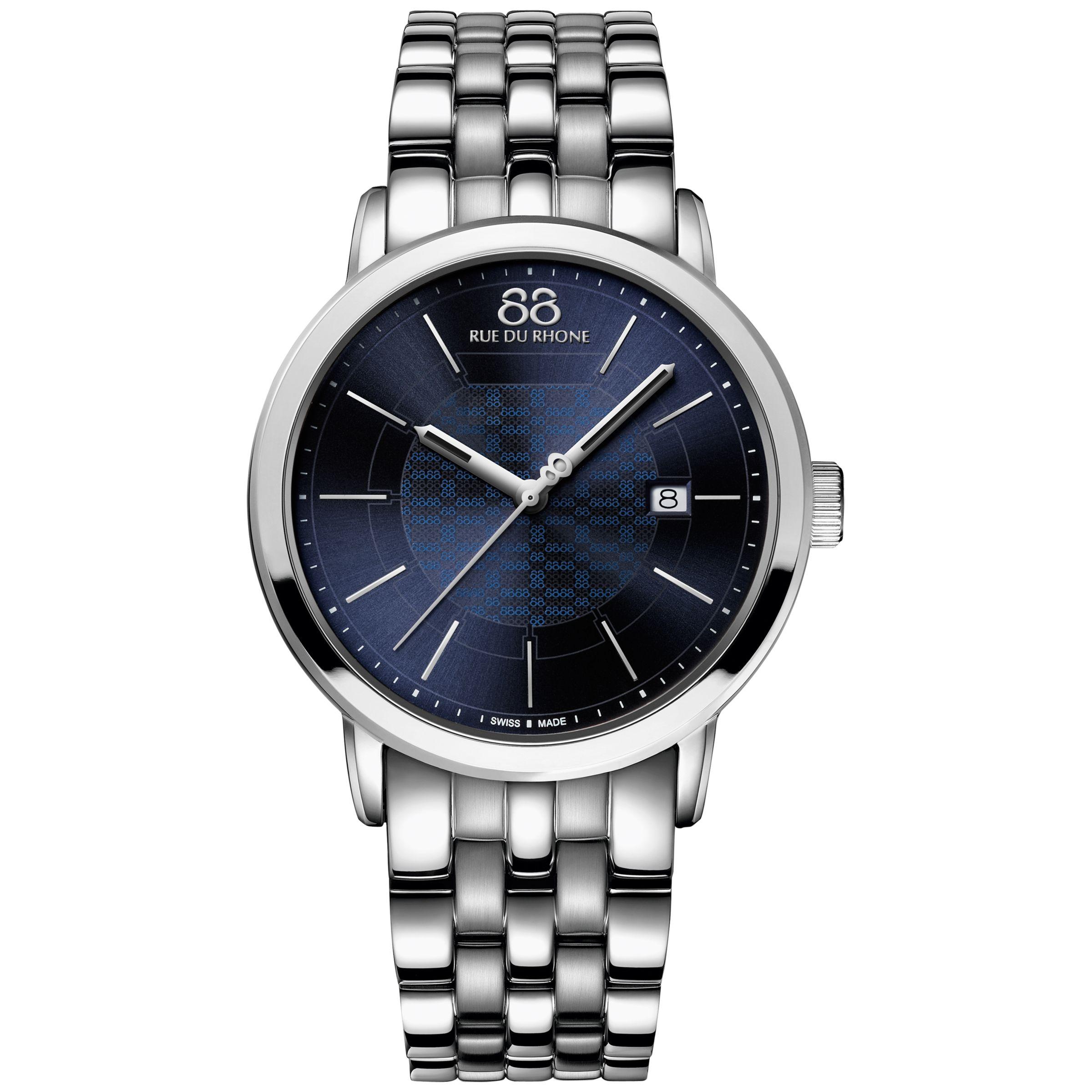88 Rue Du Rhone 88 Rue Du Rhone 87WA140024 Men's Double 8 Origin Stainless Steel Bracelet Strap Watch, Silver/Blue