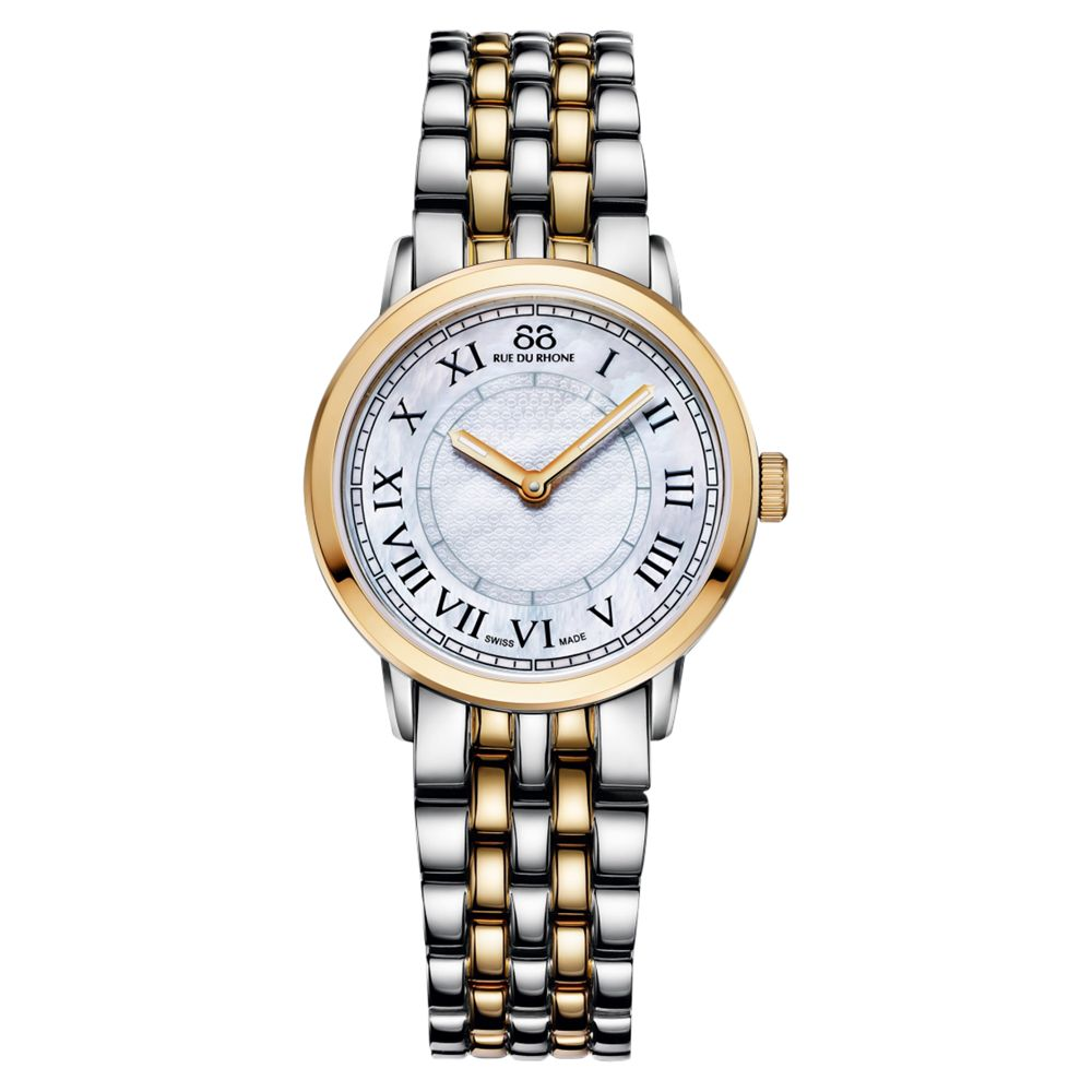 88 Rue Du Rhone 88 Rue Du Rhone 87WA120060 Women's Double 8 Origin Mother of Pearl Bracelet Strap Watch, Silver/Gold