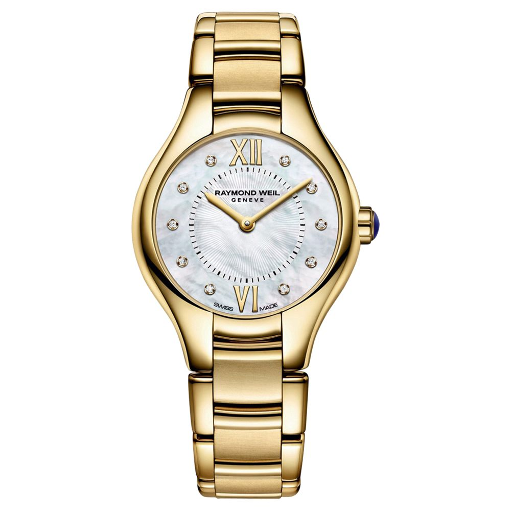 Raymond Weil Raymond Weil 5124-P00985 Women's Noemia Mother Of Pearl Diamond Bracelet Strap Watch, Gold/Silver