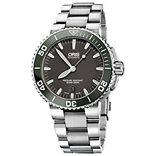 Buy Oris 73376534137mb Men's Diving Aquis Date Watch, Black Online at johnlewis.com