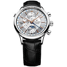 Buy Maurice Lacroix LC6037-PG101-131 Men's Moon Phase Black Leather Strap Watch Online at johnlewis.com