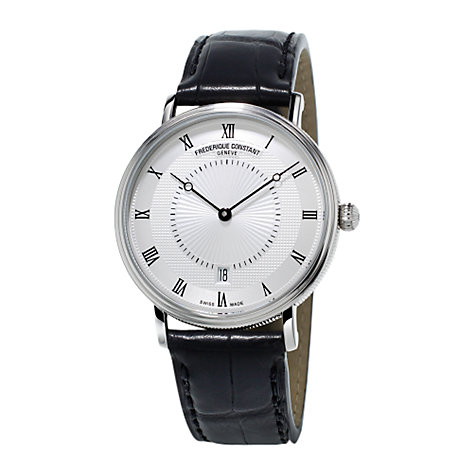 Buy Frédérique Constant FC-306MC4S36 Men's Slim Line Classics Automatic Leather Strap Watch, Black/White Online at johnlewis.com